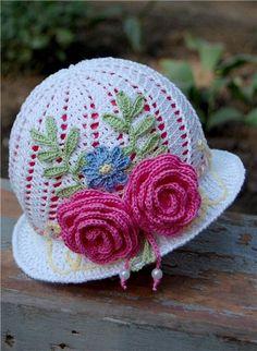 Crochet baby panama hat with flowers ♥ by Joseph Mendoza