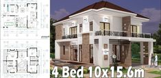 4 Bedroom Home Plan Full Exterior and Interior This villa is modeling by SAM-ARCHITECT With 2 stories level. It's has 4 Bedroom Model House Plan, My House Plans, House Floor Plans, 4 Bedroom House Designs, Townhouse Exterior, Villa Plan, House Construction Plan, Modern Villa Design, Latest House Designs