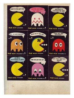 80's Vintage Pac Man Stickers. Two of my favorites as a kid: stickers and Pac Man.