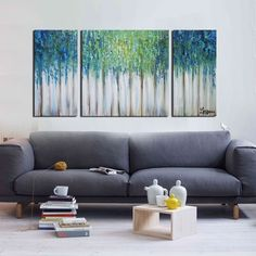 Hand-painted 'Blue Memory' 3-piece Gallery-wrapped Canvas Art Set
