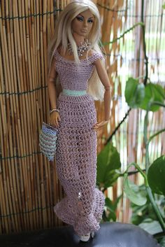 crochet barbie doll clothes for beginners Barbie Crochet Gown, Crochet Barbie Clothes, Barbie Dress, Barbie Doll, Barbie Patterns, Doll Clothes Patterns, Clothing Patterns, Dress Patterns, Fashion Dolls