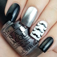 Moustache nails with the new Gwen OPI Silver for Movember. @nailsbyjema