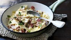 Creamy chicken, bacon and basil pasta
