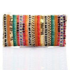 #KUNST Lime Bow #clutch. Multicolour polyester hand embroidered clutch with thread and sequins work. #Bollywoodandfashion