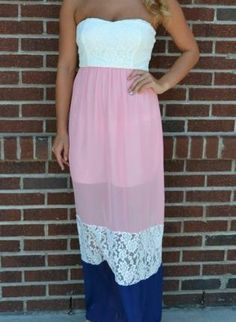Pink  Blue Lace Maxi www.UsTrendy.com