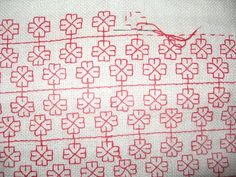 Karelian embroidery and traditional pattern, double sided runnig stitch