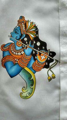 Kerala painting on fabric Saree Painting, Kerala Mural Painting, Tanjore Painting, Indian Art Paintings, Krishna Painting, Krishna Art, Fabric Painting, Dress Painting, Krishna Images