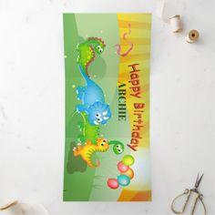 Dinosaur Colorful Kids Modern Birthday Tri-Fold Invitation