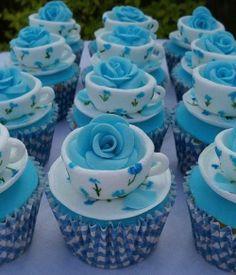 Pretty blue teacup rose cupcakes
