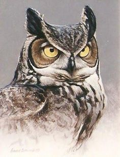 Great Horned Owl 10x8, painting by artist George Lockwood