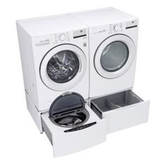 LG Electronics 27 in. Laundry Pedestal with Storage Drawers for Washers and Dryers in White-WDP4W - The Home Depot Washer Pedestal, Laundry Pedestal, Lg Washer And Dryer, Stackable Washer And Dryer, Closet Storage, Storage Drawers, Kenmore Washer, Washer Cleaner