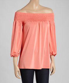 Loving this Pink Shirred Top on #zulily! #zulilyfinds