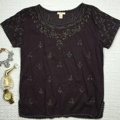 J. Crew Embroidered Fiesta Floral Tunic Blouse Lightweight embroidered top that is perfect for spring/summer weather, pair it with some white jeans or wear over your swimsuit :) Loose-fitting tunic style, so it def also fits a size small. J. Crew Tops Blouses