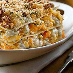 Roasted Butternut Squash Lasagna with Gorgonzola - Allrecipes.com More