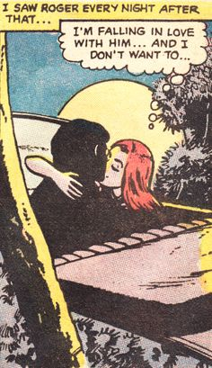 "Comic Girls Say.. ""I'm falling in love with him ..and I don't want to. "" #comic #popart #vintage"