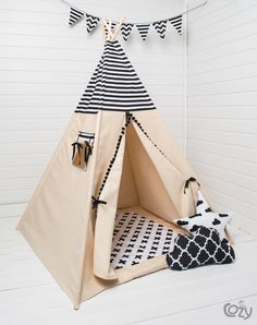 children's teepee tent, kids play tent, tipi, teepee tent, set 6 elements indian wigwam black and white Kids Tents, Teepee Kids, Teepee Tent, Canopy Tent, Teepees, Play Tents, Diy Tipi, Camping Stove, Kid Beds