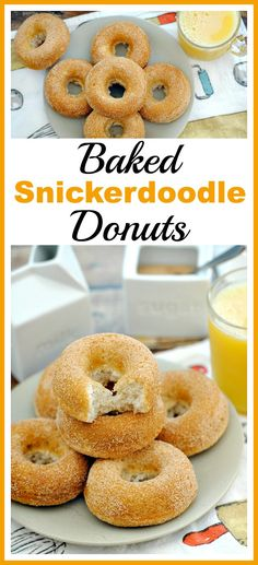 These baked snickerdoodle donuts are a combination of two delicious desserts! And they're really fast and easy to put together! | Homemade desserts | Homemade donuts