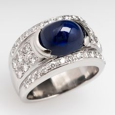Wide Band Oval Cabochon Blue Sapphire Ring 14K White Gold