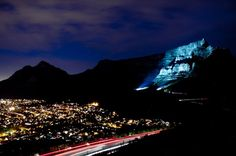 Table mountain, South Africa turn blue for diabetes awareness month in November. Go Blue, Turn Blue, Cape Town Tourism, Table Mountain Cape Town, Mountains At Night, Amazing Pics, Natural Wonders, Places To See, South Africa