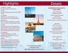 Join Cathy & Glen Cordy on this great tour of Europe!  Call 204-489-8747 or email askus@southbeachtravel.ca for more information