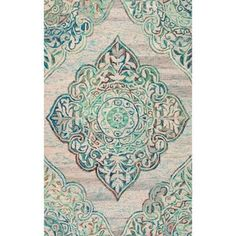 nuLOOM Handmade Country Floral Medallion Green Rug (5' x 8') - Free Shipping Today - Overstock.com - 17839774 - Mobile