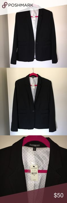 EXPRESS Black Blazer BRAND NEW, unfortunately I never got to wear this beautiful blazer; only tried on in store. Still have tags, extra buttons still attached. Professional look with triple button on each sleeve, black and white polka dot interior, two detailed pockets on each side of jacket and it feels like great material. Looking for someone to love it! PLEASE no offers in the comments, no trade for trade. Thank you 💖 Express Jackets & Coats Blazers