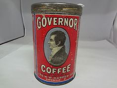 Vintage Governor Coffee Tin Can Old Advertising Collectible G 60 Coffee Stands, Coffee Tin, I Love Coffee, Vintage Tins, Vintage Coffee, Vintage Kitchen, Antique Coffee Grinder, Coffee Grinders, Advertising