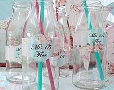 stickers souvenir mis 15 años - Buscar con Google Sweet 15, Ideas Para Fiestas, 15th Birthday, Vintage Party, Bat Mitzvah, Tea Party, Wine Glass, Water Bottle, Baby Shower