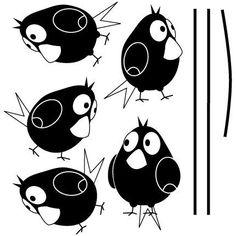 Fünf Vögel auf Draht Wall Decal von vinylwalldesign auf Etsy