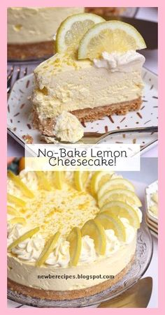 A Delicious, Sweet and Easy No-Bake Lemon Cheesecake! Only Four Ingredients for a Wonderfully Sweet and Summery Cheesecake Filling! Desserts No-Bake Lemon Cheesecake - Back to Basics - Jane's Patisserie Food Cakes, Lemon Cheesecake Recipes, Easy No Bake Cheesecake, Cheesecake Desserts, Lemon Dessert Recipes, Easy Lemon Desserts, Lemon Pie Recipe, Ricotta Cheesecake, Salted Caramel Cheesecake