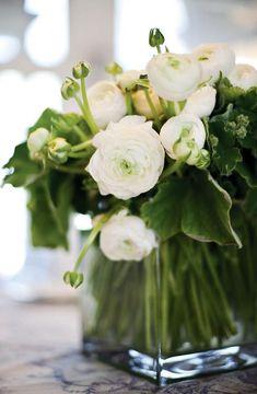 Floral Arrangement ~ white, green