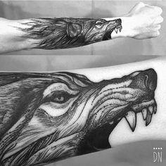 Illustrative blackwork style tattoo on the right forearm. Tattoo Artist: Dino Nemec