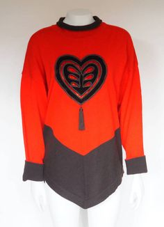 Hello Im happy youre here PANDORA FASHION shop  I offer vintage ESCADA by MARGARETHA LEY sweater AUTHENTIC ! color : red/black 100% new wool  Made in Germany size on tag 38 (european size) but in my opinion ist bigger used in very good condition total length 70 cm/ 27,56 inch width armpit to armpit 65 cm/ 25,59 inch length sleeves 46 cm/ 18,11 inch    If you have any question write to me   JOIN ME ON FACEBOOK  https://web.facebook.com/PandoraFashionVintage&#...