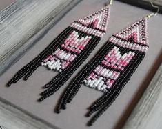 Rose Beaded earrings Long earrings Pink chandelier earrings Boho Beadwork earrings Fringe earrings N Beaded Tassel Earrings, Pink Earrings, Seed Bead Earrings, Fringe Earrings, Beaded Earrings, Etsy Earrings, Seed Beads, Beaded Jewelry, Jewellery