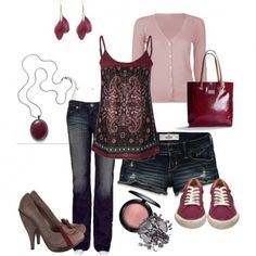Burgandy casual and night out! Fall Outfits, Summer Outfits, Casual Outfits, Cute Outfits, Summer Shorts, Look Fashion, Fashion Outfits, Womens Fashion, Fashion Images