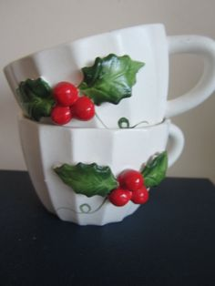 Vintage Holt Howard Christmas Punch Cups with Holly by myfancies, $10.00