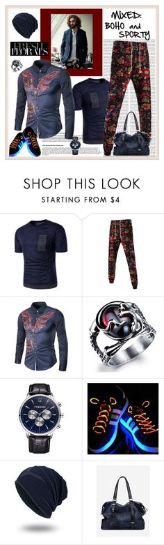 """""""Mixed: Boho and Sporty"""" by carola-corana ❤ liked on Polyvore featuring men's fashion, menswear and rosegal"""