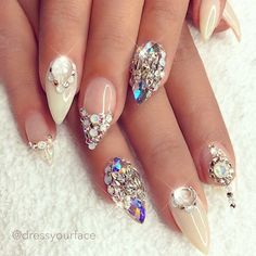 extravagant nails for your wedding day. rhinestone designs are so beautiful!