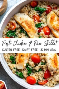 This creamy pesto chicken and rice skillet is the perfect easy weeknight meal. You can make this simple chicken skillet Gluten Free Recipes For Dinner, Healthy Dinner Recipes, Whole Food Recipes, Lactose Free Meals, Main Meal Recipes, Gluten Free Dinners Easy, Healthy Meals With Chicken, Gluten Free Baking Recipes, Simple Healthy Meals