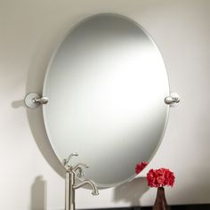 31 Marietta Oval Tilting Mirror Brushed Nickel Code 112571 Two Sizeany Finishes