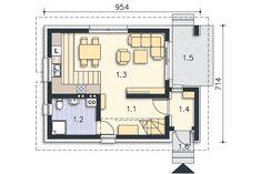 Zobacz powiększenie rzutu kondygnacji Parter - projekt Stamford Stamford, Tiny House, House Plans, Sweet Home, Floor Plans, Cottage, How To Plan, Detached House, House Beautiful