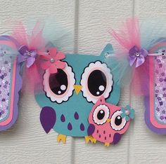 Owl baby shower banner, mom and baby owl, pink, teal, purple, lavender, etsy, handmade banner, it's a girl banner, NancysBannerBoutique,