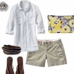 Love this casual look for a day at the races! Zipper pouch in Awesome Blossom makes a great clutch!