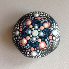 Blue Mandala Henna Art Mandala Painted Pebble - Adriatic /Gift / Decoration / Painted rock art Beachstone Dot Stone Mandala Stone