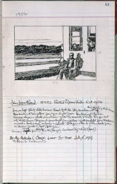 Edward Hopper, page 61 from Artist's ledger — Book III, 1924–67. Ink, graphite, and colored pencil on paper,