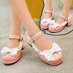 Japanese princess sweet bowknot lolita students heels