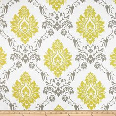 RCA Sheers Damask Citrine/Grey from @fabricdotcom  This screen printed semi sheer fabric is very lightweight and perfect for window treatments. Colors include citrine yellow, grey and white. Made in the USA.
