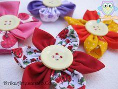 Flores de tecido e ímãs de geladeira - Drika Artesanato - O seu Blog de Artesanato.