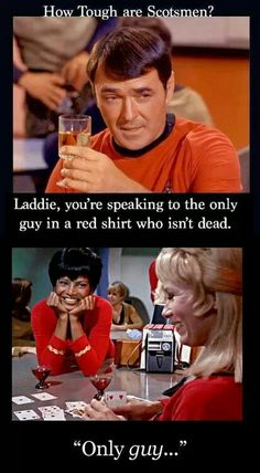 red shirts. only guy that isn't dead... #star trek