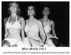 Twenty-two year old Kiki Håkansson from Sweden (centre of photo) becomes the first ever winner of the Miss World Competition in 1951.